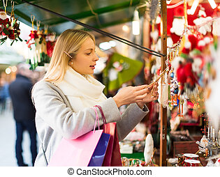 Beautiful woman at Christmas market - Beautiful blonde girl...