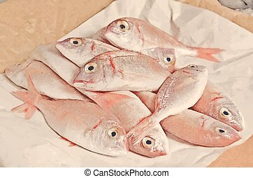 Fresh fish with red scales - Fresh fish with red carp open...