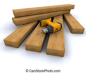 power drill and wood