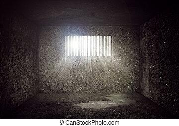 Compulsive Consumerism Concept, Empty Concrete Prison Cell...