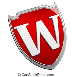 Shield W - W Shield isolated over white, 3d render