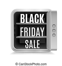 Black friday - Black Friday discounts in open safe on white...