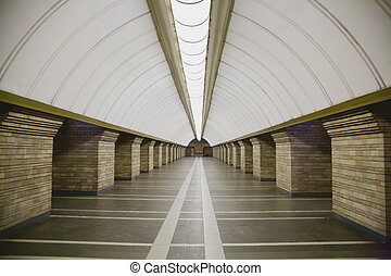 Subway station in a big city with no people