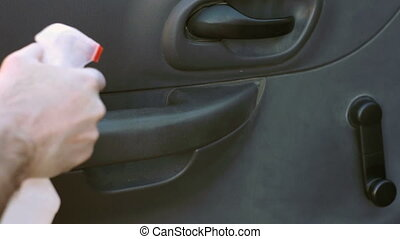 Car Cleaning Wipe Inside of Door - Spraying and wiping down...