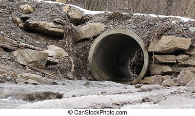 Drain pipe Under roads with running water