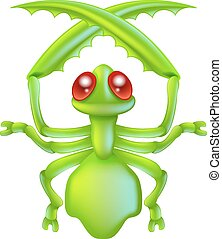 Cartoon insect preying mantis bug - An illustration of a...