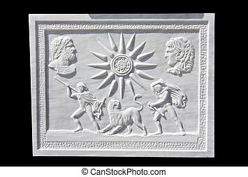Replica of an ancient decorative greek relief showing king...