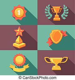 Awards and trophy icons flat vector illustration - Awards...