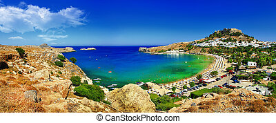 Rhodes island, Greece - panoramic view of Lindos bay