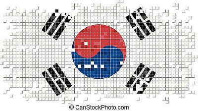 South Korea grunge tile flag.