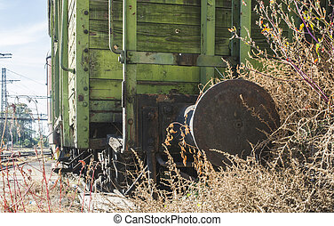 Old wooden train wagon