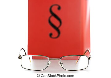 glasses and law book