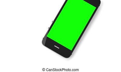 Animation of a chroma key screen of a smartphone against...
