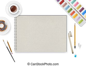 Art workspace with notebook and coffee - Vector illustration...