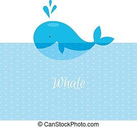 azul, ballena, con, mar,