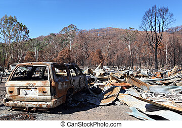 Fire Destruction - Aftermath of a ferocious bushfire. Burnt...