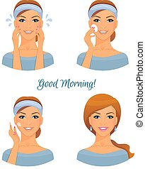 Morning treatments for skin - Vector illustration of Morning...