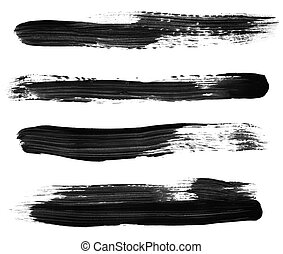 Black Paint Brush Strokes - Variety of black paint brush...