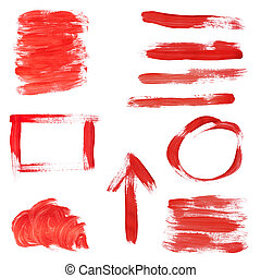 Red Paint Design Elements - Collection of red paint...