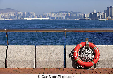 Lifebuoy on the waterfront in Hong Kong