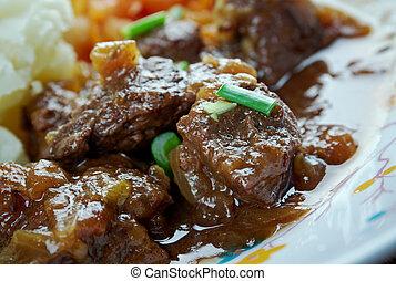 Reindeer stew - Traditional Finnish meal - Reindeer stew...