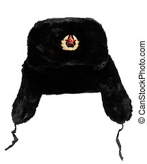Russian Fur Hat - Black Russian fur hat, with hammer and...