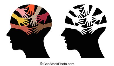 black head profiles with helping hands, abstract vector...