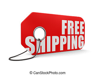 Label free shipping. Image with clipping path
