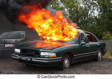 Automobile fire - Fire Fighters on the scene of an auto fire...
