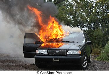 Automobile fire - An auto fire out of control