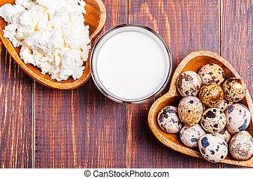 cabaña, codorniz, huevos, leche, queso