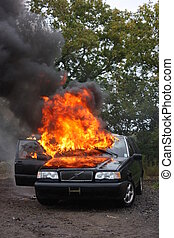 An auto fire - An automobile fire out of control