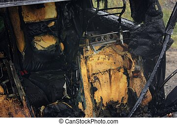 An auto interior after the fire is put out.