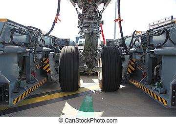 avião, Engrenagem, puxar, car