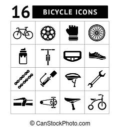 Set icons of bicycle, biking, bike parts and equipment...