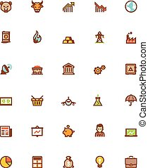 Vector stock market icon set - Set of the stock market...