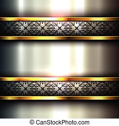 Abstract background metallic with ornaments on banners,...