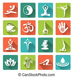 Spa yoga icons long shadow - Set of massage, yoga, spa...