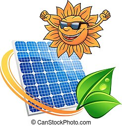 Trendy sun with a solar photovoltaic panel - Happy trendy...