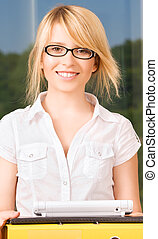 office girl - bright picture of young businesswoman in...