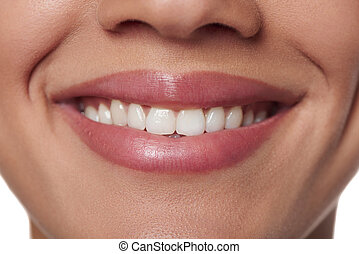 Dental health. - Cropped of beautiful young woman smile....