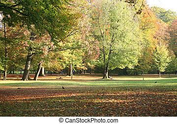 Munich\'s English Garden in Autum - People enjoying...