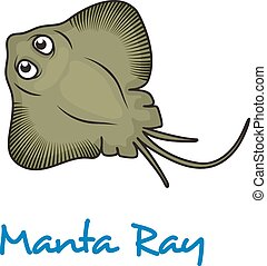 Cartoon manta ray viewed from above with large eyes and text...