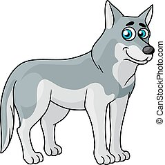 Cartoon grey wolf standing sideways looking at the viewer...
