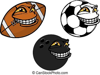 Grinning cartoon soccer, football and bowling ball