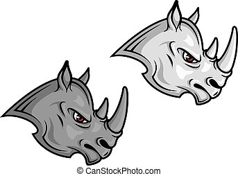 Cartoon rhino mascots in profile in greyscale color variants...