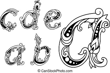 Calligraphic floral lower case alphabet letters