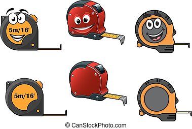 Set of retractable tape measures with and without happy...