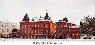 Red brick Russian revival style state bank in Orel, Russia,...