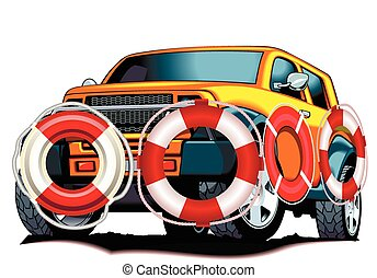 auto insurance - Lifebuoy car, vector art illustration...